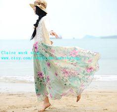 Great holiday Summer Beach Dress women colorful flowers long skirt high quality chiffon skirts mint blue teal aqua