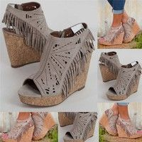 Wish | Women's Fashion Fringe Wedge Sandals Womens Casual Hollow Cutout Caged Style Shoes Vintage High Heels Sandals