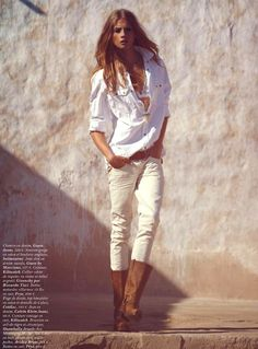 white blouse, light trousers, brown boots