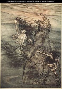 Mock away Mock The Nibelung makes for your toy!, illustration from The Rhinegold and the Valkyrie, 1910  by Arthur Rackham