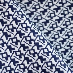 Tissu Jacquard graphique bleu patriote & blanc x 10cm