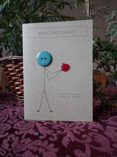 Anniversary card made with buttons and brown Kraft от buttonbaps Wedding Cards Handmade, Greeting Cards Handmade, Paper Cards, Diy Cards, Cricut Anniversary Card, Button Cards, Engagement Cards, Card Making Inspiration, Birthday Greeting Cards