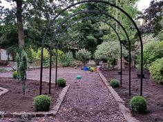 Garden Design & Planting #gardendesign #plantingdesign #boxballs #gardenarches #shrubs #evergreenshrubs #screeningplants #englishgarden #victoriangarden #gardendesigncheshire #plantingdesigncheshire