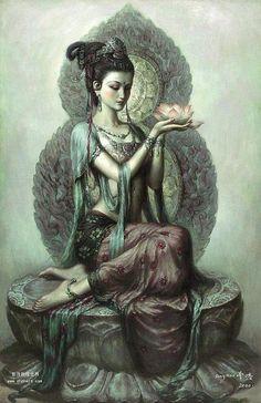 "Buddhist goddess of mercy: Quan Yin (also spelled Kwan Yin, Kuanyin; in pinyin, Guanyin). In Sanskrit, her name is Padma-pâni, or ""Born of the Lotus. Sacred Feminine, Divine Feminine, Fantasy Kunst, Fantasy Art, Goddess Of Love, Indian Goddess, Earth Goddess, Divine Goddess, Mother Goddess"