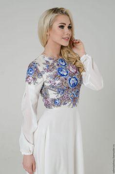 платье свадебное, русский стиль, павлопосадский платок, платье длинное в пол