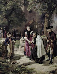 Ens, Emil. Porzellanmaler des 19. Jh. in Lauscha. Sign. 1864 dat. Gläubige in malerischen thüringischen Trachten beim Kirchgang an einem prachtvollen Sommertag