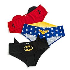 Set of three panties - Wonder Woman, Batman, and Harley Quinn. Each has an iconic logo on the front and a fabric decoration that extends above the waistline on the back, particular to the respective character.