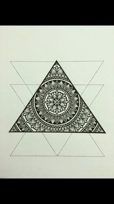 Triangle mandala tattoo inspiration