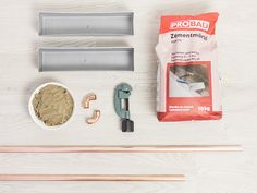 DIY portant en cuivre et en béton - Matériel