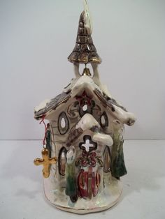 "Blue Sky Clay ""Holiday Village CHURCH"" by Heather Goldminc T-Light Holder 2001"