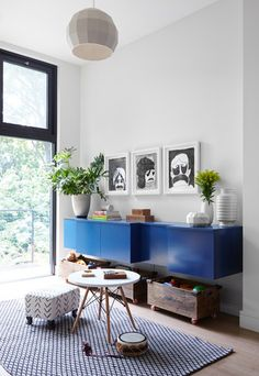 DOMINO:Pops of Blue Make This Bright Brooklyn Townhouse Stand Out