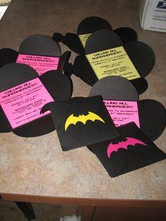 Unique Batman invites! love it! but instead of hot pink, i'd use bright blue! :D