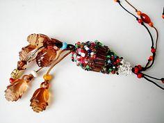 Handmade Jewelry honetytassel bead necklace by seragun on Etsy, $21.00