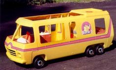 I had the Barbie van and blow up furniture!  Great memories!! i had a pink barbie van my cousins had one like this