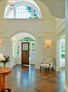 I Love Unique Home Architecture. Simply stunning architecture engineering full of charisma nature love. The works of architecture shows the harmony within. Grand Entryway, Entry Foyer, Foyer Staircase, Staircase Ideas, Front Entry, Open Entryway, Foyer Ideas, Spiral Staircases, Entrance Ideas