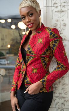 Gold and black accents wrap around our strikingly fierce Zainab blazer. A single outing in this ensemble and we promise you'll never view red the same. cotton shell Ankara print also known as African wax Breathable lining Designed to fall at the hip African Fashion Ankara, Latest African Fashion Dresses, African Dresses For Women, African Print Fashion, African Attire, African Dress Designs, African Blouses, African Tops, Poncho