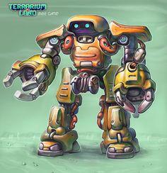 "The Robot T.I.X. Hero from 3d indie game ""Terrarium-land"". #gamedev, #scifi, #conceptart, #robots, #terrarium_land,"