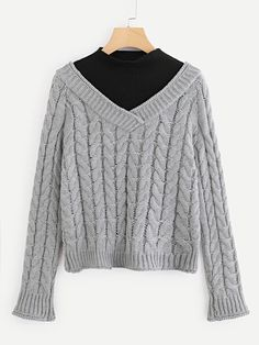 Cable Knit 2 in 1 Jumper -SheIn(Sheinside) Fall Sweaters 5deb0573e