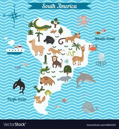 Cartoon Map Of South America Continent With Different Animals. Stock Vector - Illustration of geographic, monkey: 77076400 South America Continent, South America Animals, South America Travel, World Map Mural, Kids World Map, Foto Cartoon, America Outfit, Geography For Kids, Les Continents