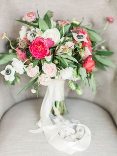 White Anemone Bouquet With Pink Peonies