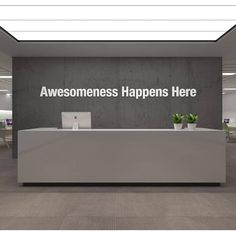 Awesomeness Office Decor Ideas Apply this Awesomeness Office Decor Ideas in any flat surface (walls, windows, etc). If you are looking for a piece of art in Corporate Office Design, Office Reception Design, Office Wall Design, Dental Office Design, Office Walls, Office Wall Art, Office Interior Design, Office Interiors, Corporate Offices
