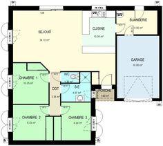 Surface habitable : 89.55 m²  Surface séjour: 34,15 m² Surface cuisine: 10,08 m² Surface buanderie: 6,90 m² Surface chambre 1: 10,05 m² Surface chambre 2: 9,72 m² Surface chambre 3: 9,20 m² Surface garage : 19 m²