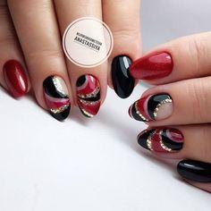 Oval Nails, Red Nails, Hair And Nails, Nail Polish Designs, Nail Art Designs, Cute Nails, Pretty Nails, Nail Art Arabesque, Korea Nail Art