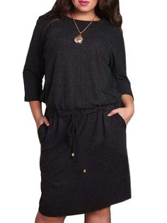 Plain Pockets Charming Lace Up Round Neck Plus Size Midi Dress #ClothingOnline #PlusSizeWomensClothing #CheapClothing #FashionClothing #womenswear #sexydress #womensdress #womenfashioncasual #womensfashionforwork  #fashion #womensfashionwinter