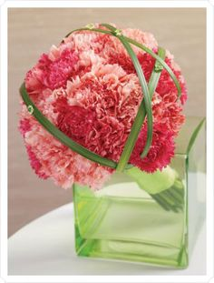 pink carnation bouquet-Carnations are inexpensive flower option...i like that this one has a little green in it...