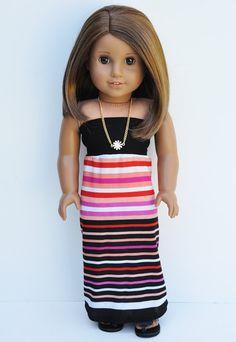 Black Multi-Striped Maxi Tube Dress, Maxi Skirt, Black Crop Top, Conversion Dress by LoriLizGirlsandDolls on Etsy, $26.00