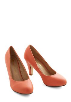 In a Classic of Its Own Heel in Coral - Faux Leather, Mid, Coral, Solid, Prom, Wedding, Party, Work, Daytime Party, Bridesmaid, Minimal, Good, Variation, Social Placements, Top Rated