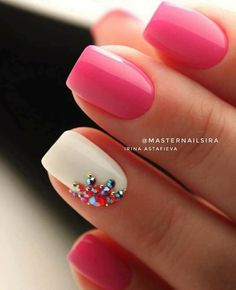 White Nails and Artistic Nail Styles 1 – The Best Nail Designs – Nail Polish Colors & Trends Shellac Nails, Pink Nails, Acrylic Nails, My Nails, Nail Polish, Pink White Nails, Orange Nail, Glitter Gel Nails, Stiletto Nails