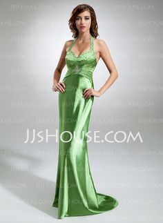 Prom Dresses - $127.99 - Sheath Halter Floor-Length Charmeuse Prom Dresses With Ruffle Beading (018002832) http://jjshouse.com/Sheath-Halter-Floor-Length-Charmeuse-Prom-Dresses-With-Ruffle-Beading-018002832-g2832