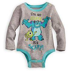 Monsters Disney Cuddly Bodysuit for Baby | Disney StoreMonsters Disney Cuddly Bodysuit for Baby - Let your little one scare up all the fun with Mike and Sulley. Our Disney Cuddly Bodysuits are made from organic cotton and feature Grow-An-Inch-Snaps, allowing for longer wear as your little one grows.