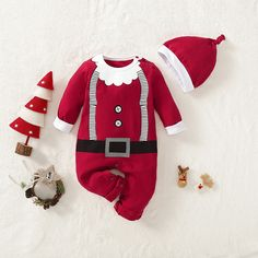 Baby Christmas Santa Jumpsuit and Hat Set Baby Boy Christmas Outfit, Christmas Baby, Christmas Clothes, Cute Baby Boy, Cute Babies, Matching Family Outfits, Baby Outfits Newborn, Latest Fashion For Women, Outfit Sets