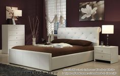 KING CHESTER BED (BE-517) WITH GAS LIFT _ IVORY WHITE $1200