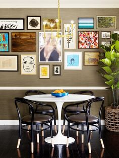 Why it Works: A Creative Director's Small Space Home// gallery wall, Saarinen table, brass light fixture Decor, Small Living Rooms, Interior, Small Space Room Ideas, Small Space Design, Home Decor, Room Inspiration, House Interior, One Bedroom Apartment