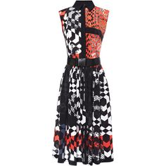 Preen by Thornton Bregazzi Luna Dress With Belt (5,080 PEN) ❤ liked on Polyvore featuring dresses, belt dress, sleeveless collared dress, collar dress, dresses with belts and full a line skirt
