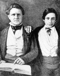 Young Edwin with his father, noted actor Junius Booth. From an early age Edwin accompanied his father on tour to help out backstage and also to keep the elder Booth out of trouble.