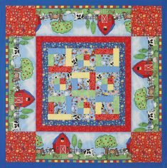 Keep the quilt's intended use in mind when planning fabric placement. This children's quilt is intended to lay flat and be used as a play mat, so the border panels face out on all sides.