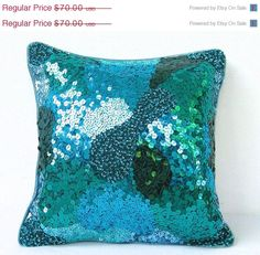 SALE Teal Green Sequin Pillow Green Throw Pillow by TheHomeCorner, $56.00
