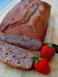 This looks amazing!! Strawberry Bread: 2 10-ounce packages frozen sliced strawberries. 4 eggs, 1 C oil, 2 C sugar, 3 C flour, 1 TBSP cinnamon, 1 tsp baking soda, 1 tsp salt, 1 C chopped nuts. Makes 2 loaves. Bake 350 for 1 hr, 10 min. Serve with cream cheese, or fresh fruit or make tea sandwiches