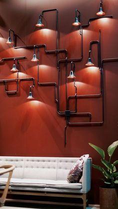 Luminaria Industrial, Industrial Pipe, Industrial Lighting, Industrial Style, Industrial House, Wall Lighting, Pipe Lighting, Lighting Design, Industrial Furniture