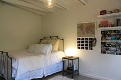 Shiva's Eclectic, Romantic Modern Ranch, wood with metal industrial bed side table (Aiden's room)