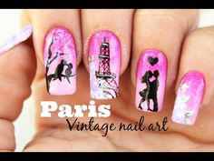Mermaid on a Rock ⎮ Freehand Nail Art Tutorial Nail Art Paris, Paris Nails, Christmas Manicure, Christmas Nail Art, Vintage Nail Art, Vintage Paris, Love Nails, Beauty Nails, Gel Nails