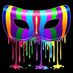 Carnival Party Mask Psychedelic Rainbow Glowing Paint