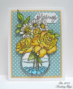 Featuring Stampendous' Build A Bouquet SKU 709080.  Available on www.addictedtorubberstamps.com  Card created by Lin of Hearts Hugs and Flowers.