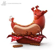 Daily Painting #933. Hot Dog, Piper Thibodeau on ArtStation at https://www.artstation.com/artwork/daily-painting-933-hot-dog