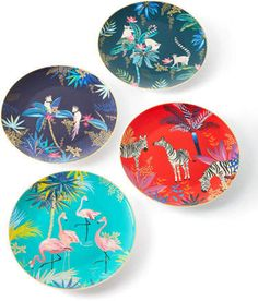 Sara Miller Assorted Side Plates, Set of 4 Plates And Bowls, Side Plates, Dessert Aux Fruits, Tropical Home Decor, Appetizer Plates, Gift Registry, Cockatoo, Inspired Homes, Plate Sets