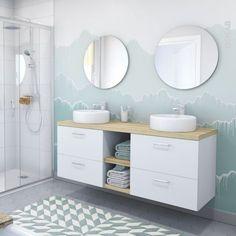 Meuble de salle de bains Sous vasque GINKO Blanc 2 tiroirs Côtés blancs x x cm - Oskab Bathroom Kids, White Bathroom, Decor Interior Design, Interior Decorating, Decorating Ideas, Bathroom Furniture, Home Goods, New Homes, Vanity